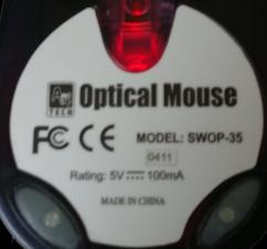 Tabliczka znamionowa myszki komputerowej